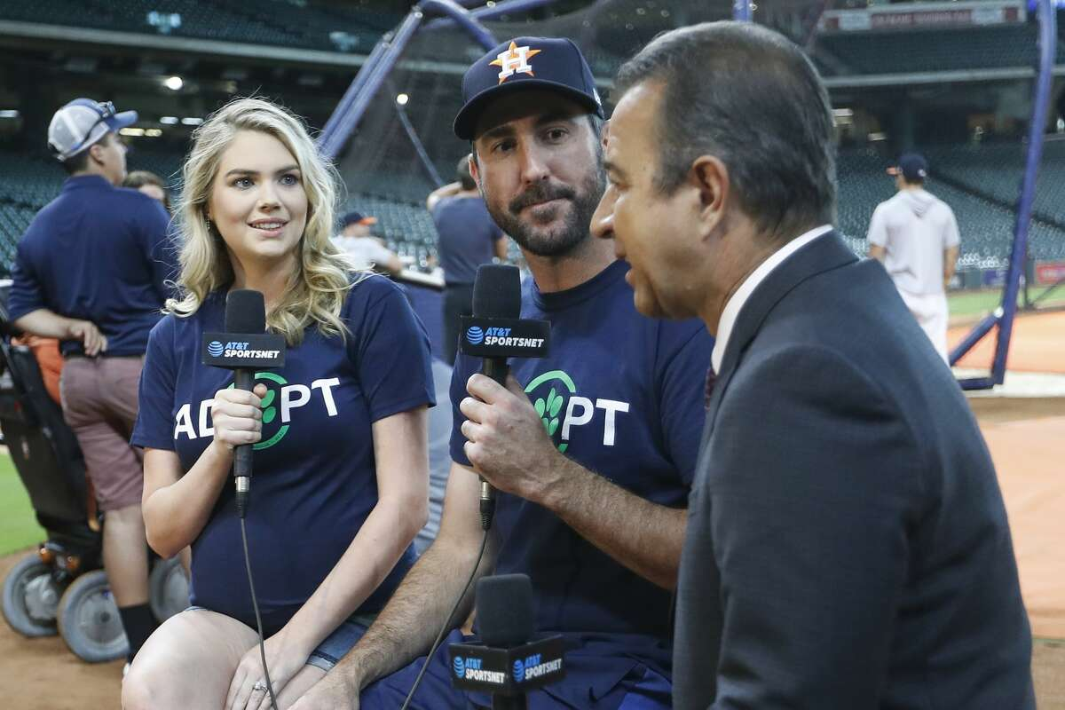 Astros TV broadcaster Todd Kalas (right), pictured interviewing Justin Verlander and wife Kate Upton last year, did not mention the pitcher had a no-hitter Sunday in Toronto until after the final out, citing viewers' superstitions.