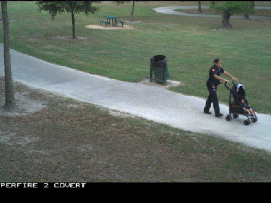 According to a Facebook post from Harris Co. Pct. 4 Constable Mark Herman, Deputy Corie Buchanan was patrolling a Harris county park when she noticed a young mother struggling with her child. Photo: Harris Co. Constable Pct. 4/Facebook