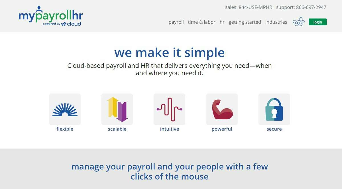 A screengrab ofMyPayrollHR website.