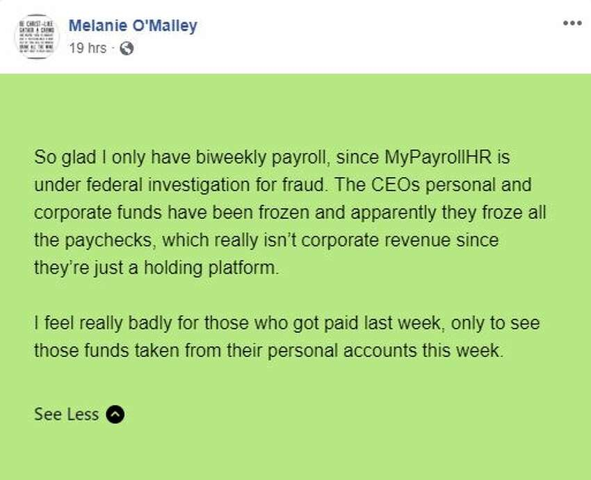 Screengrab from Facebook group Victims of MyPayrollHR.