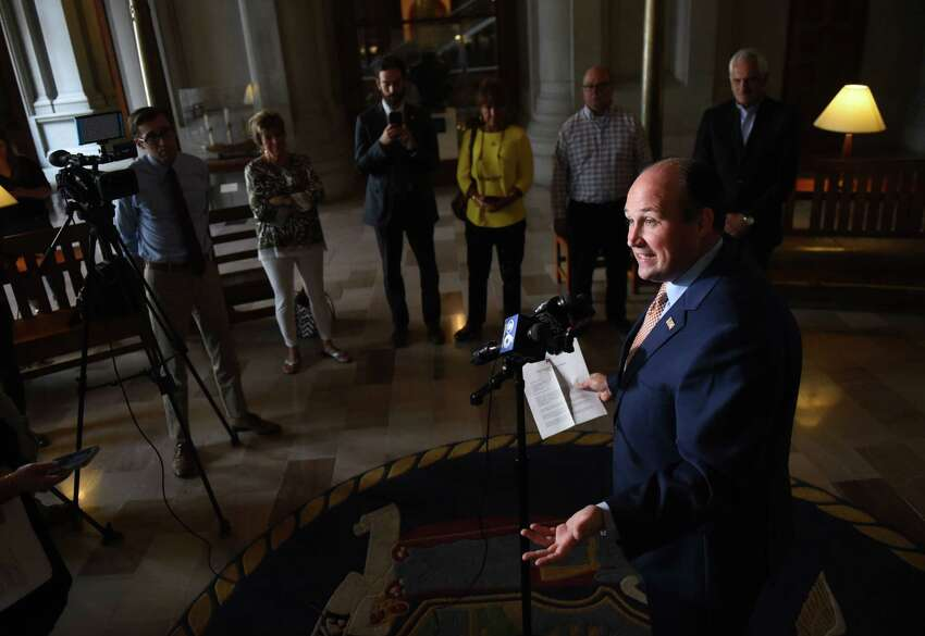 New York Republican Chairman Nick Langworthy speaks during a press conference before delivering a Freedom of Information Law request to the governor's office for documentation related to Gov. Andrew Cuomo?•s license plate contest on Friday, Sept. 6, 2019, at the Capitol in Albany, N.Y. (Will Waldron/Times Union)