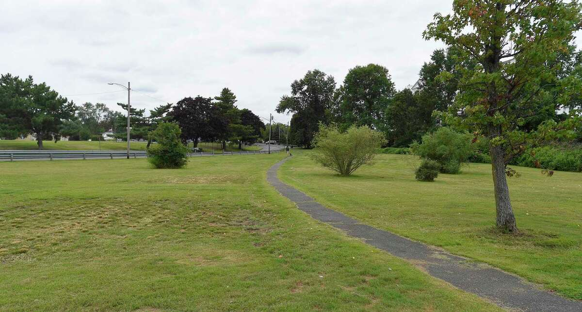 This is a view of the proposed area at Boccuzzi Park, taken on Sept. 6, 2019, where an $8 million education center is planned to be built in Stamford, Connecticut. The park, also known as Southfield Beach Park, houses the nonprofit environmental education group SoundWaters, which just signed a 50-year lease with the city to use a portion of the park. SoundWaters educates thousands of schoolchildren a year and needs a new facility.