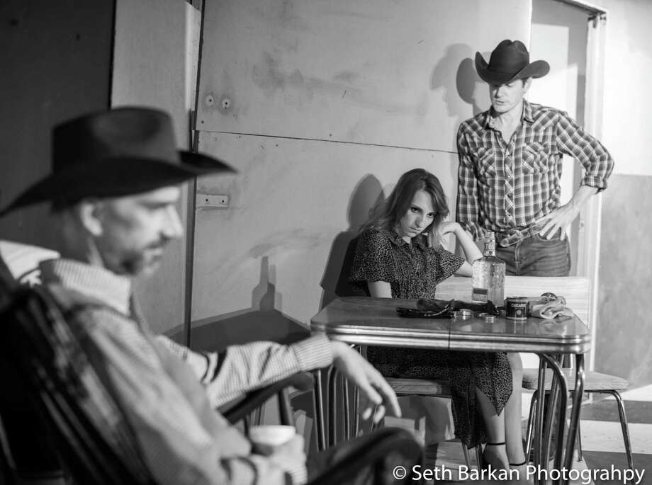 "Patrick Duffy, left, Nikki Serafini and Chris Luongo in a scene from the Carriage House's gritty Sam Shepard drama ""Fool For Love,"" which runs September 13-28 in Norwalk's Cranbury Park. Photo: Seth Barkan Photography / Contributed Photo"