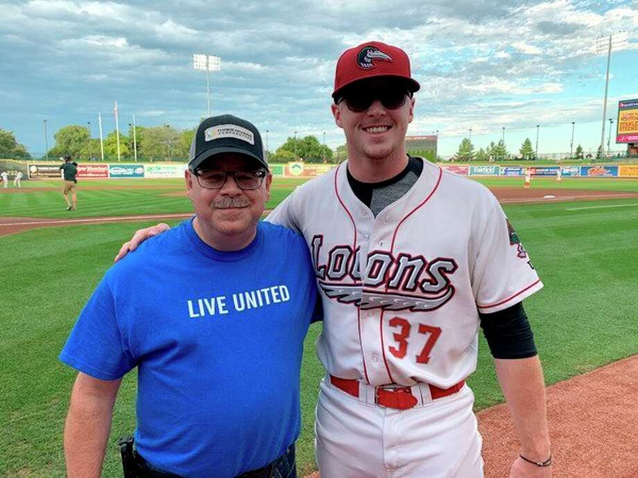 2019 United Way of Midland County Campaign Chair Jon Lynch is pictured after throwing the ceremonial first pitch at Dow Diamond. (Provided photo/United Way of Midland County)