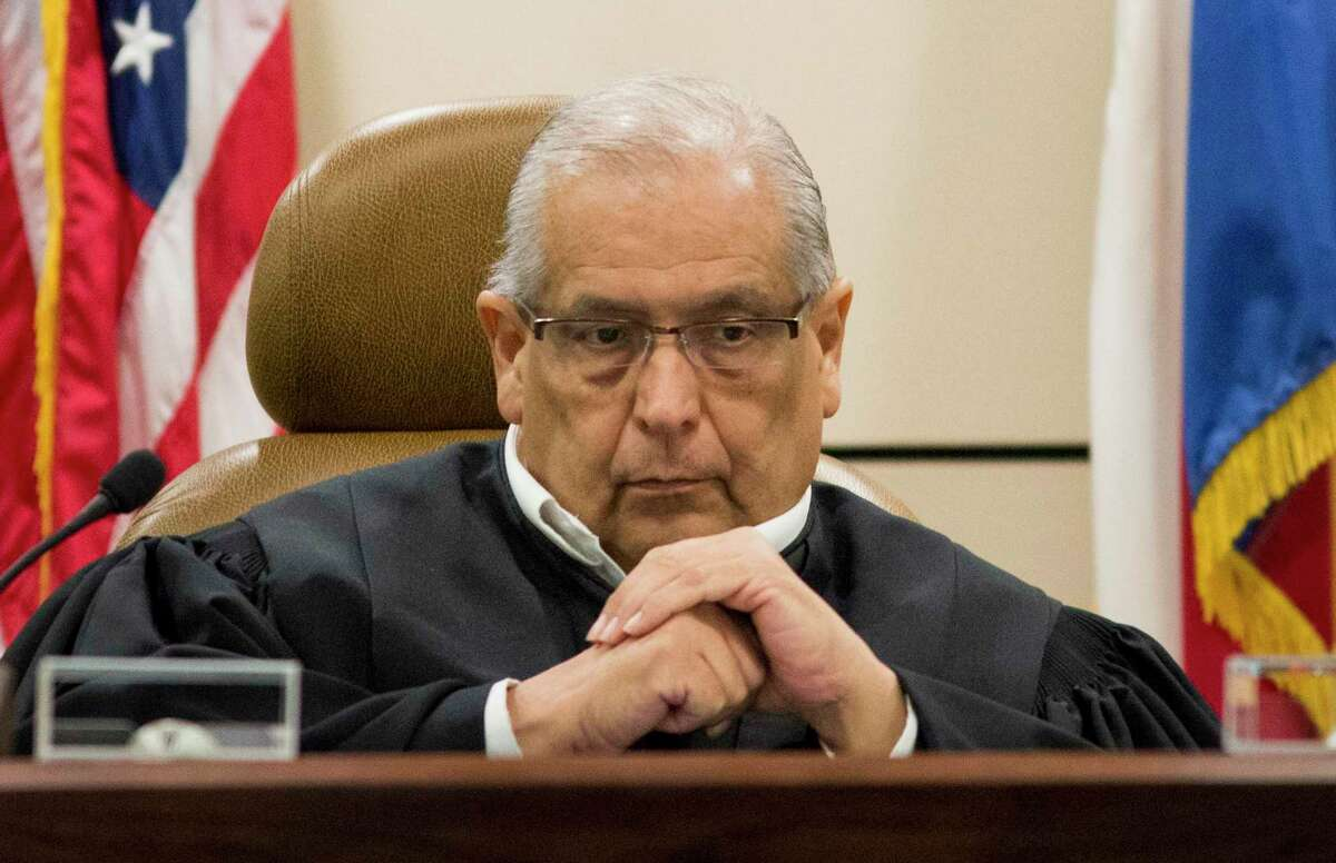 State District Judge Ray Olivarri presides during a sentencing hearing in the 144th District Court at the Cadena-Reeves Justice Center last September. Olivarri died in January after a long battle with cancer.