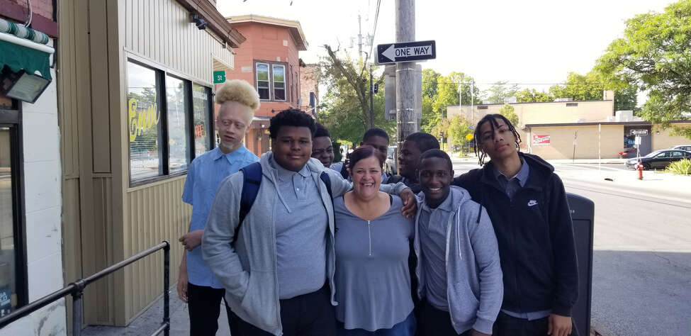 Green Tech High Charter School students do community service as part of a
