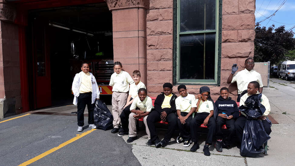 Green Tech High Charter School students do community service in Albany, N.Y. as part of a