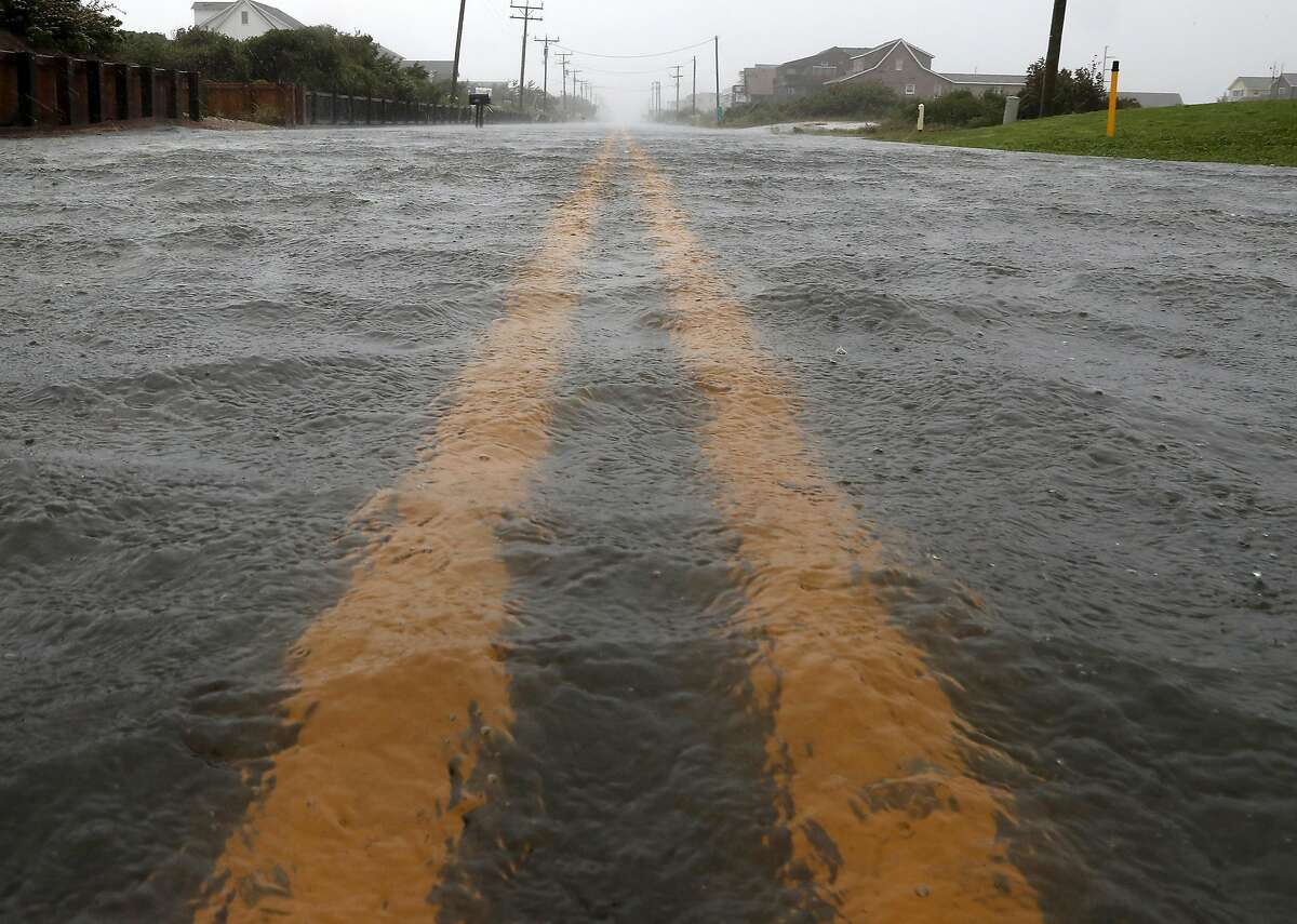 NAGS HEAD, NORTH CAROLINA - SEPTEMBER 06: Water floods Highway 12 as Hurricane Dorian hits the area on September 6, 2019 in Nags Head, North Carolina. Dorian passed Charleston S.C. yesterday as a category 3 storm and now is hit the Outer Banks as a category 1 storm. (Photo by Mark Wilson/Getty Images)