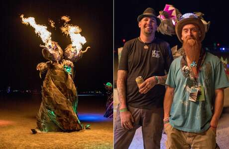 "(Left to right) Kyle Jenson and Ian Rice with their art piece Trippity Twitchit at Burning Man 2019, the largest outdoor arts festival in North America, in the Black Rock desert of Gerlach, Nevada. According to Ian Rice, ""I'd never sculpted until I made a flamethrower for people to play with. I never knew the joys of interactive art, and now it's all I can think of."" Photo: Jane Hu"