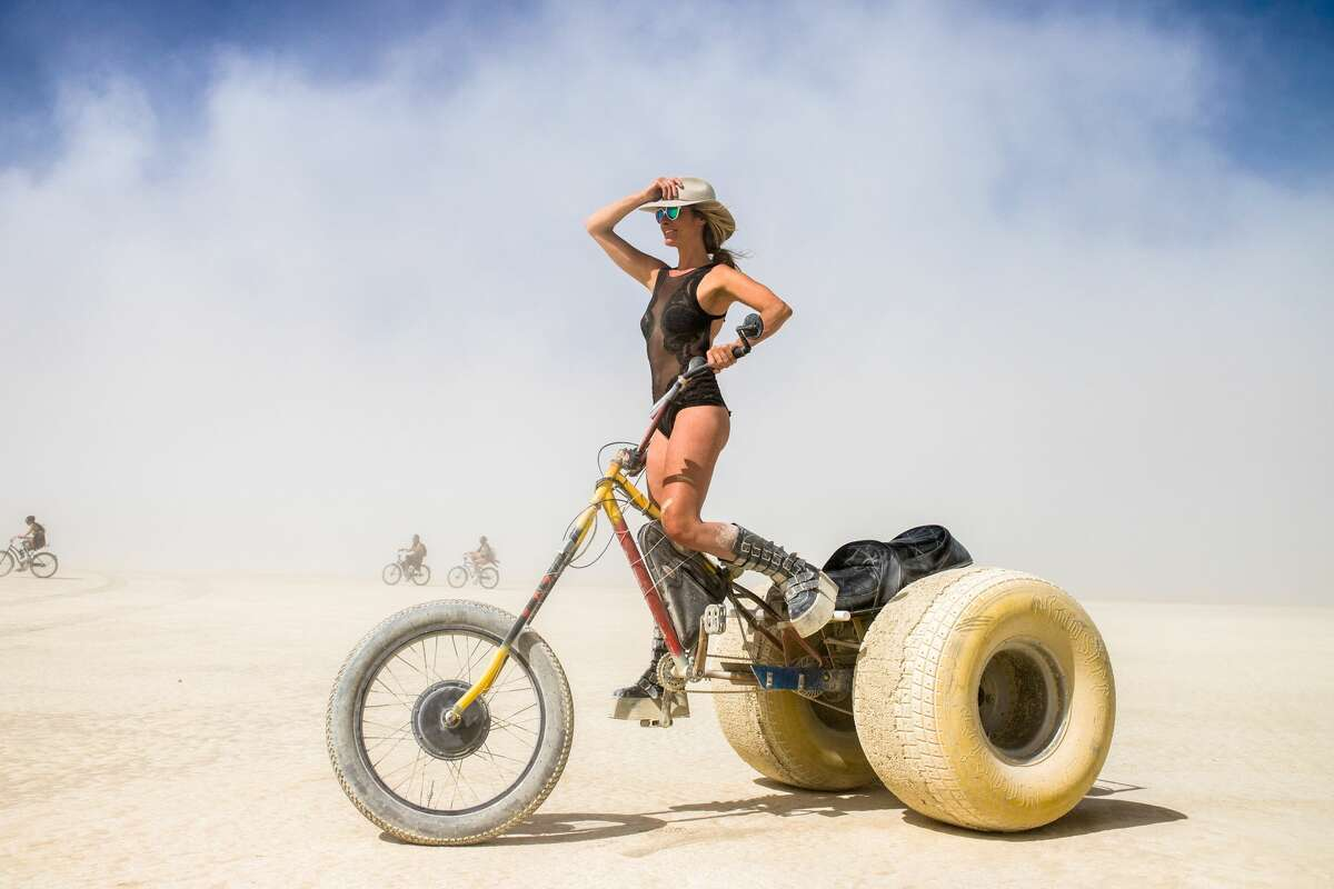 A participant has a custom vehicle to get around Burning Man 2019, the largest outdoor arts festival in North America, in the Black Rock desert of Gerlach, Nev.