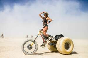A participant has a custom vehicle to get around Burning Man 2019, the largest outdoor arts festival in North America, in the Black Rock desert of Gerlach, Nevada.