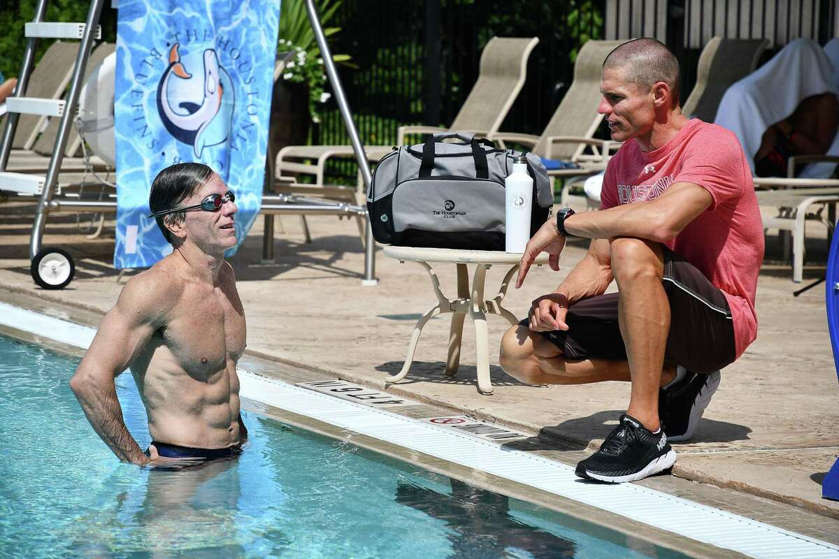 Bill Schneidau works with Houstonian swim instructor Jarrod Marrs at the Houstonian Club & Spa. For men at least, entering middle age with plenty of muscle may lower the later risk of developing heart disease by more than 80 percent.