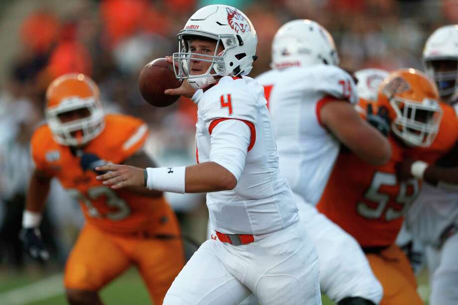 Houston Baptist quarterback Bailey Zappe throws during the first half of an NCAA football game against UTEP on Saturday, Aug. 31, 2019 in El Paso, Texas. (AP Photo/Andres Leighton) Photo: Andres Leighton, Associated Press / Copyright 2019 The Associated Press. All rights reserved.