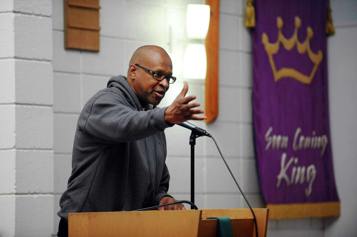 Jack Bryant, president of the NAACP's Stamford chapter, speaks inside Bethel AME Church prior to the annual Martin Luther King Jr. Day march in Stamford, Conn. on Monday, Jan. 16, 2017. Bryant, who was elected to the Stamford Board of Education in November, died Thursday.