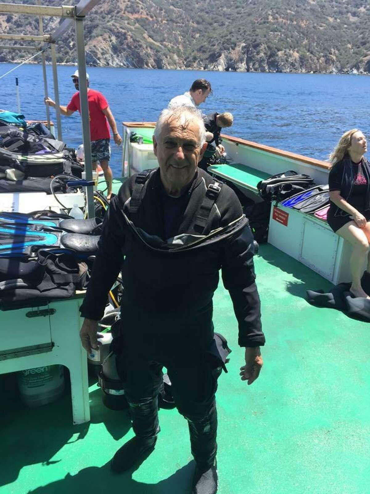 Longtime scuba diver Sal Zammitti aboard the Vision liveaboard boat in 2018.