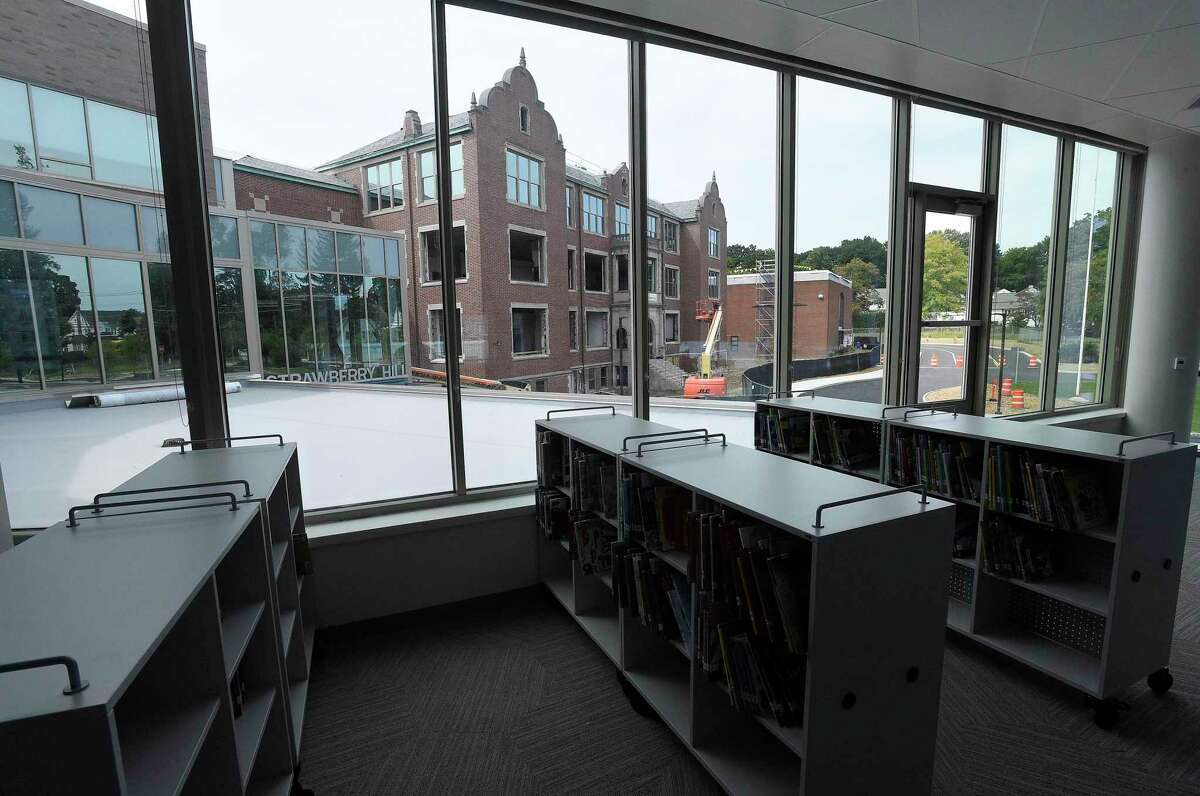Renovation work continues with Strawberry Hill School on Sept. 5, 2019 in Stamford, Connecticut. This is a view from the new media center of the newly opened Strawberry Hill School.