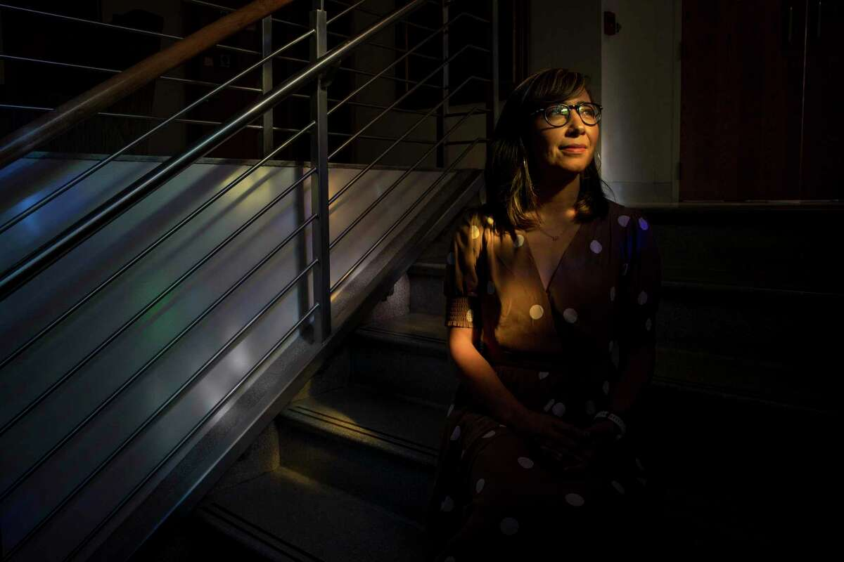 """Sarah Luna was a high school counselor for rapper Travis Scott while he was a student at Elkins High School. In a documentary he said that she saved his life. """"It's been very sweet, very rewarding, very humbling,"""" Luna said. She poses for a portrait at St. Agnes Academy, where she currently works as a counselor, on Thursday, Sept. 5, 2019, in Houston."""