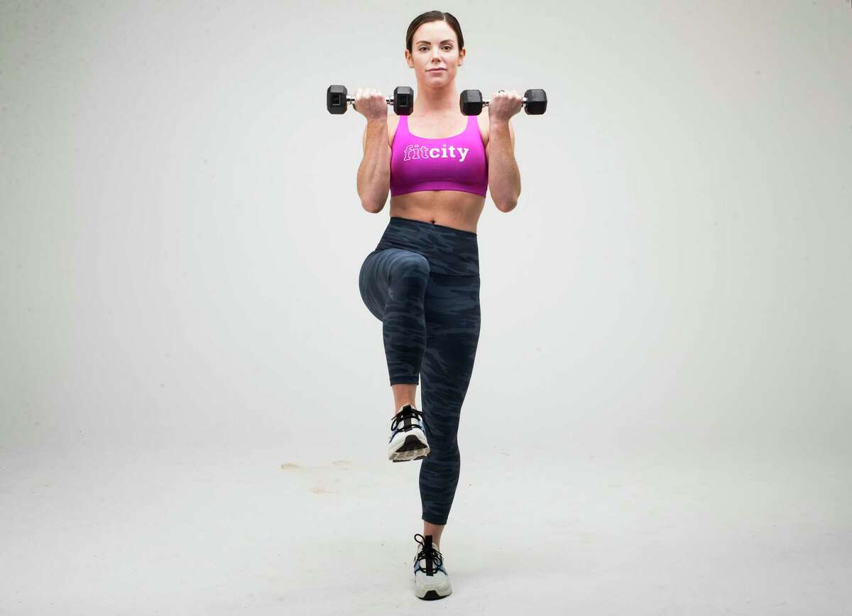 Lateral Lunge to Dumbbell Curl. Step 2