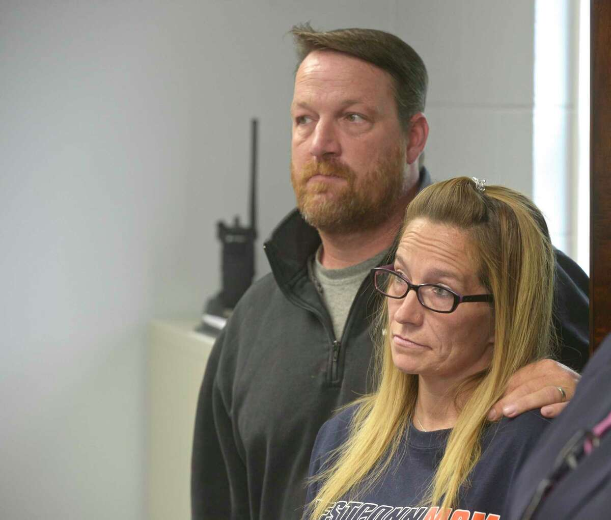 Tracey Morrissey and Tony Morrissey parents of Brian Cody Waldron attend a press conference where New Milford Police Chief Spencer Cerrito and Mayor Pete Bass announce their plans to combat the towns opioid crisis. Friday afternoon, September 6, 2019, in New Milford, Conn. Waldron died this August from a drug overdose.
