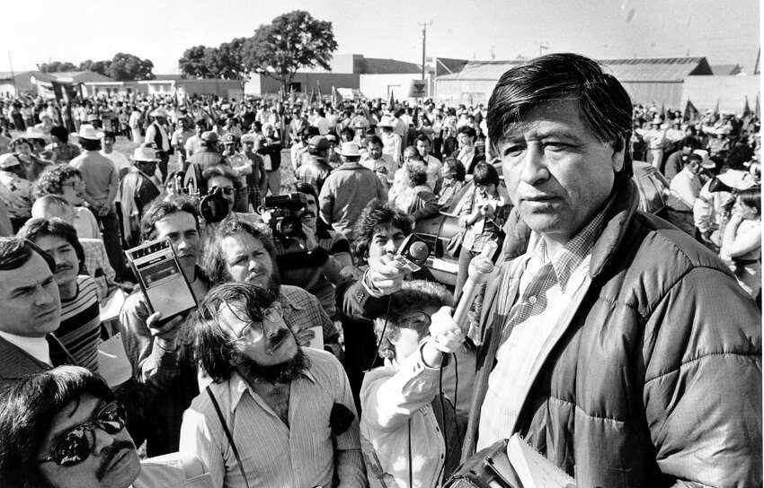 FILE -- United Farm Workers President Cesar Chavez talks to striking Salinas Valley Farm workers during a rally in Salinas, Calif., in this March 7, 1979 file photo. Gov. Davis of California signed legislation last summer that recognized the accomplishments of Cesar Chavez by establishing March 31 _ Chavez's birthday _ as a state holiday. (AP Photo/Paul Sakuma, File)