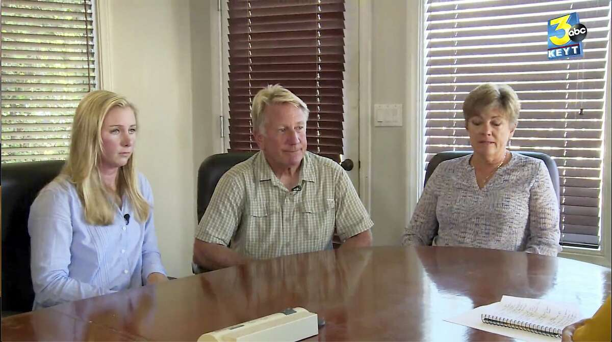 This photo from video provided by KEYT-TV shows the owners of Truth Aquatics and the dive boat Conception, Glen and Dana Fritzler, right, and their daughter Ashley, left, during an interview with News Channel Three's Beth Farnsworth Thursday, Sept. 5, 2019 in Santa Barbara, Calif. They say they are beyond devastated by the tragedy that took 34 lives on the Conception. The small, family owned company has been in business for 45 years, is known throughout the world and is well-known in Santa Barbara. (KEYT-TV via AP)