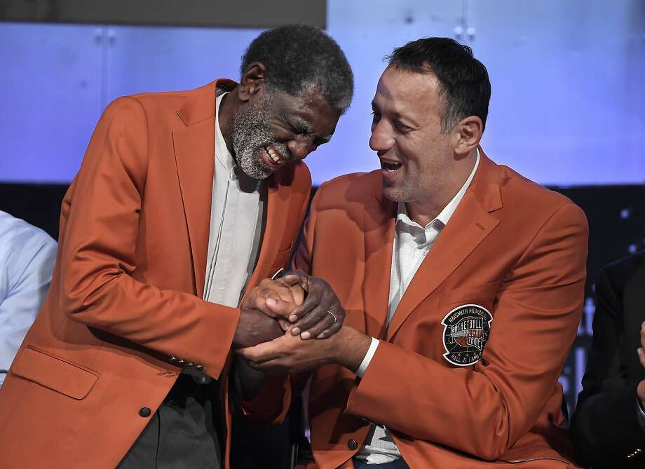 Class of 2019 inductees Al Attles, left, and Vlade Divac, right, laugh during a news conference at the Naismith Memorial Basketball Hall of Fame, Thursday, Sept. 5, 2019, in Springfield, Mass. (AP Photo/Jessica Hill) Photo: Jessica Hill, Associated Press