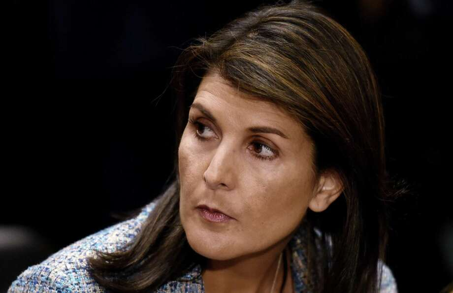 U.N. ambassador Nikki Haley attends Mike Pompeo's confirmation hearing before the Senate Foreign Relations Committee on April 12, 2018 in Washington, D.C. (Olivier Douliery/Abaca Press/TNS) Photo: Olivier Douliery, MBR / TNS / Abaca Press