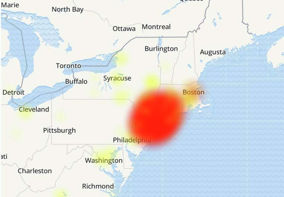 A map from downdetector.com showing service interruption reports from Optimum customers Sept. 6, 2019. Photo: /