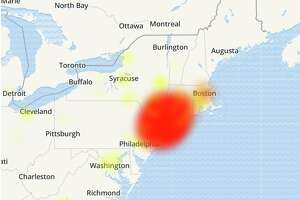 A map from downdetector.com showing service interruption reports from Optimum customers Sept. 6, 2019.