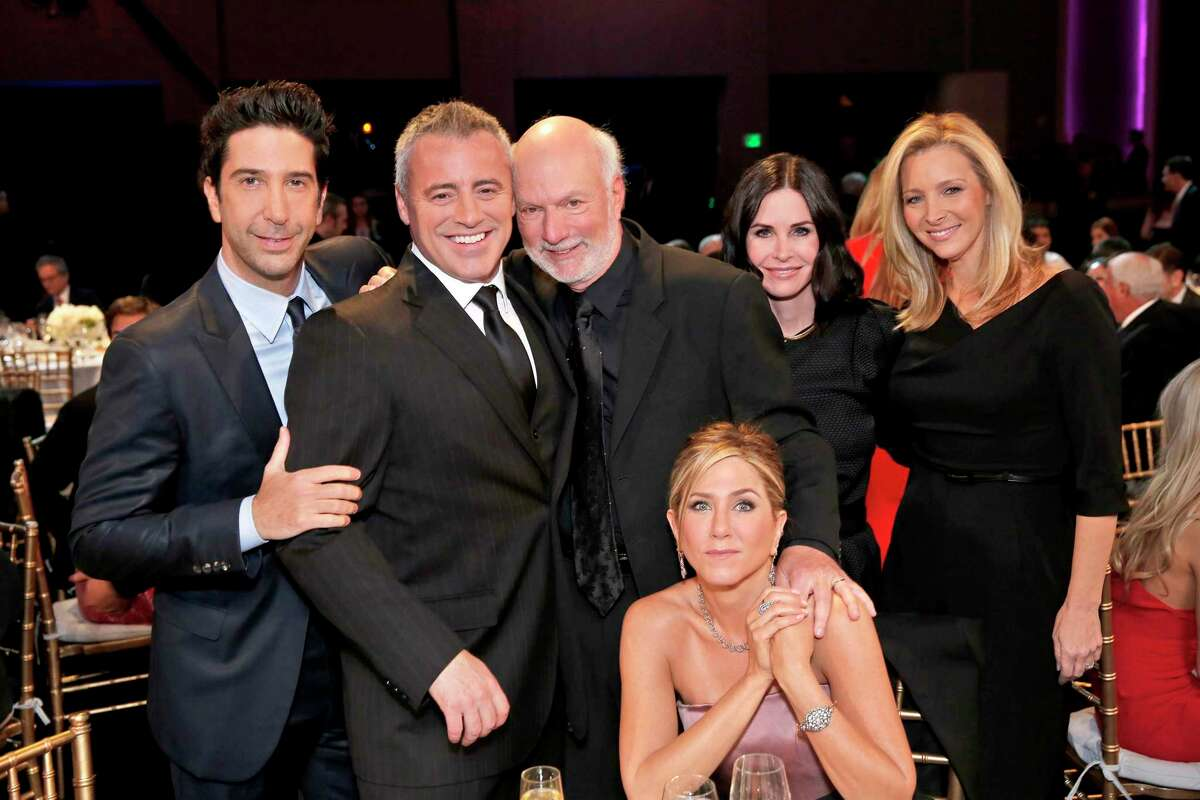 From left, David Schwimmer, Matt LeBlanc, director James Burrows, Jennifer Aniston, Courteney Cox and Lisa Kudrow at a tribute for Burrows that will air Feb. 21 on NBC. MUST CREDIT: Chris Haston, NBC