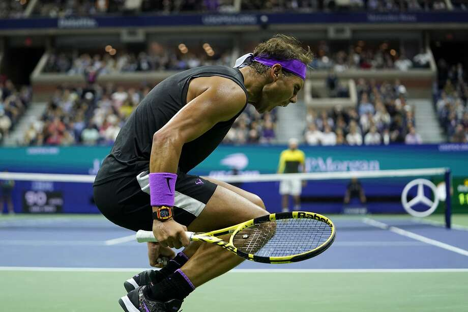 Rafael Nadal, of Spain, reacts after winning the first set against Matteo Berrettini, of Italy, during the men's singles semifinals of the U.S. Open tennis championships Friday, Sept. 6, 2019, in New York. (AP Photo/Eduardo Munoz Alvarez) Photo: Eduardo Munoz Alvarez / Associated Press