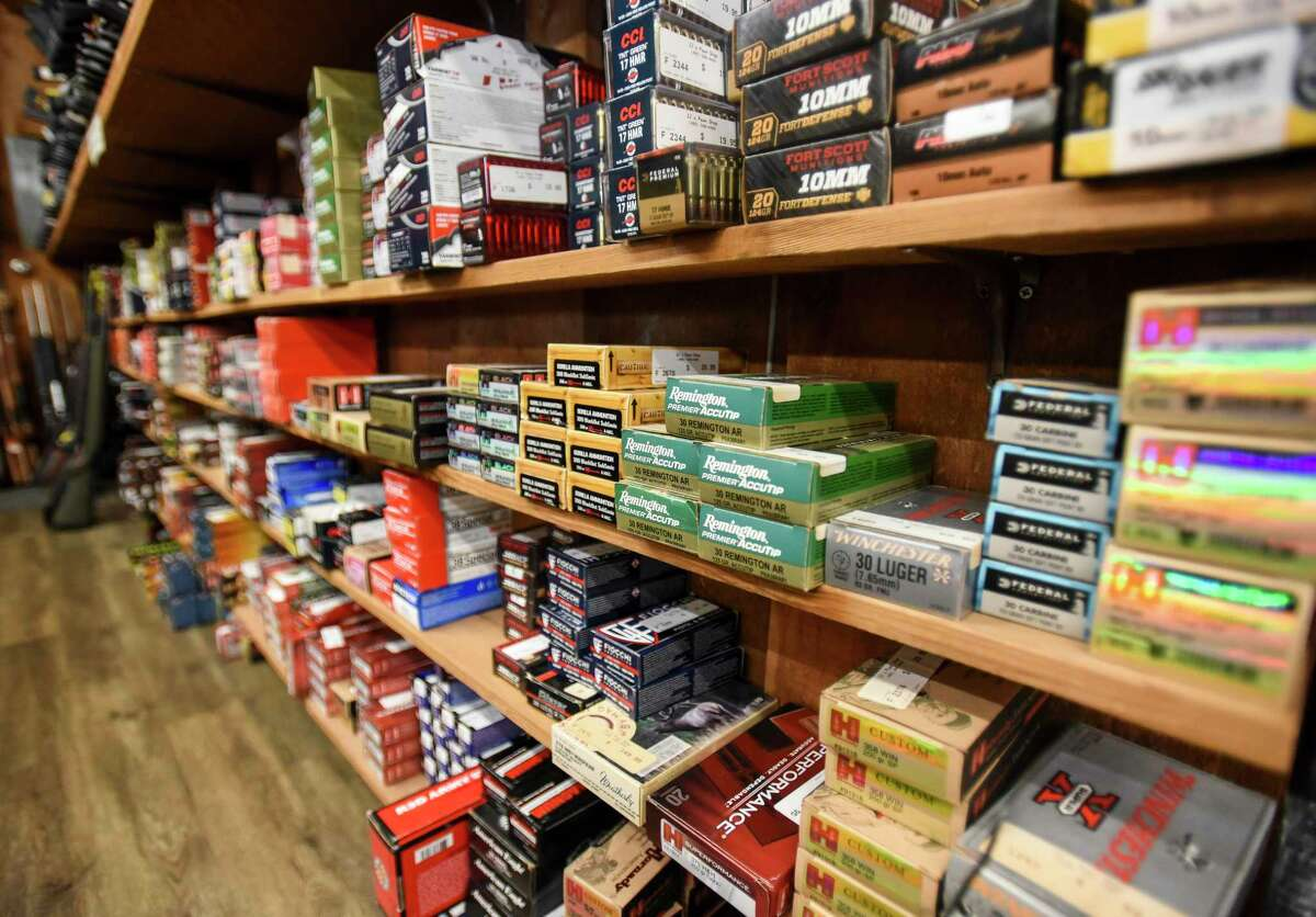 Boxes of ammo in various calibers on sale at JJ's Pawn Shop Friday afternoon. Photo taken on Friday, 09/06/19. Ryan Welch/The Enterprise