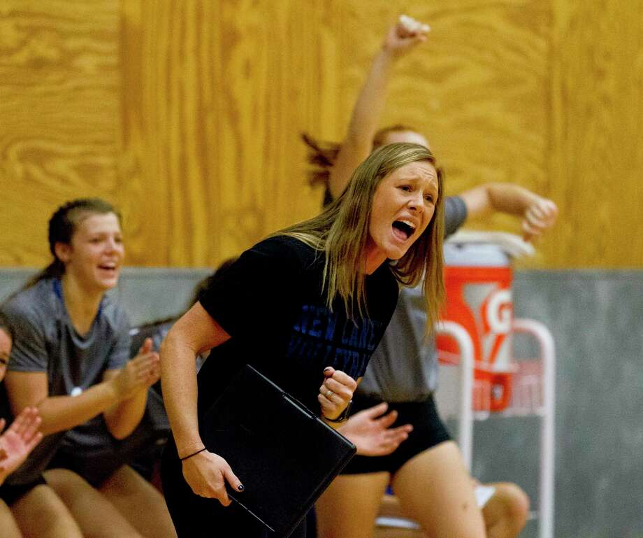 New Caney head coach Kristin Lemoine is seen in the third set of a match during the Spring ISD Varsity Volleyball Classic at Dekaney High School, Saturday, Aug. 17, 2019, in Houston. Photo: Jason Fochtman, Houston Chronicle / Staff Photographer / Houston Chronicle