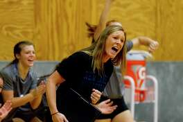 New Caney head coach Kristin Lemoine is seen in the third set of a match during the Spring ISD Varsity Volleyball Classic at Dekaney High School, Saturday, Aug. 17, 2019, in Houston.