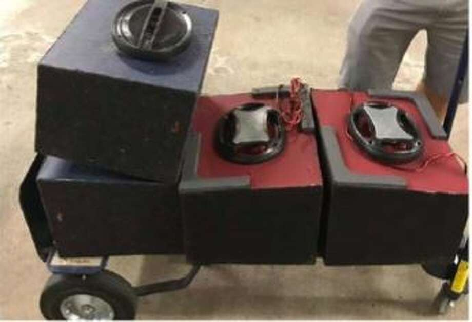 While searching a vehicle on Interstate 45 on Aug. 30, Montgomery County Narcotics Enforcement Team deputies found four speaker boxes containing 70 kilograms of methamphetamine, with an estimated street value of $4.2 million, officials said Friday. Photo: Montgomery County Sheriff's Office
