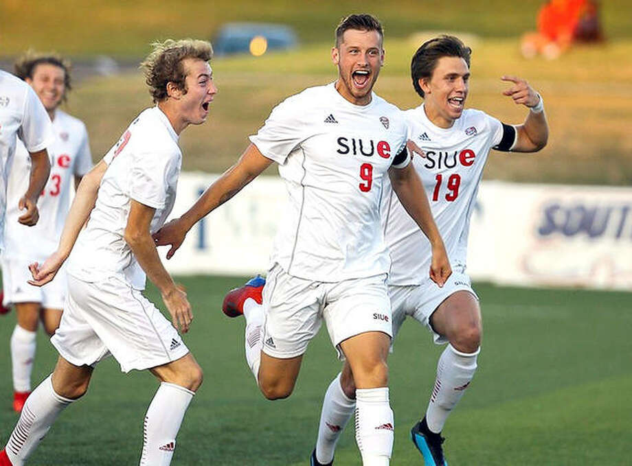 The SIUE Cougars celebrate an early goal by Lachlan McLean (9) in Friday night's victory over the University of Evansville at Korte Stadium. Photo: Scott Cain, SIUE | For The Telegraph