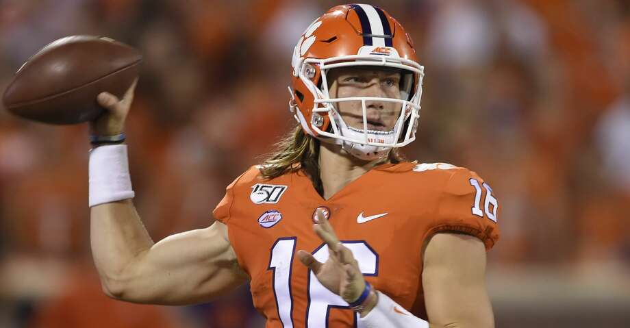 Clemson's Trevor Lawrence throws a pass during an NCAA football game on Thursday, Aug. 29, 2019 in Clemson, S.C. (AP Photo/Richard Shiro) Photo: Richard Shiro/Associated Press