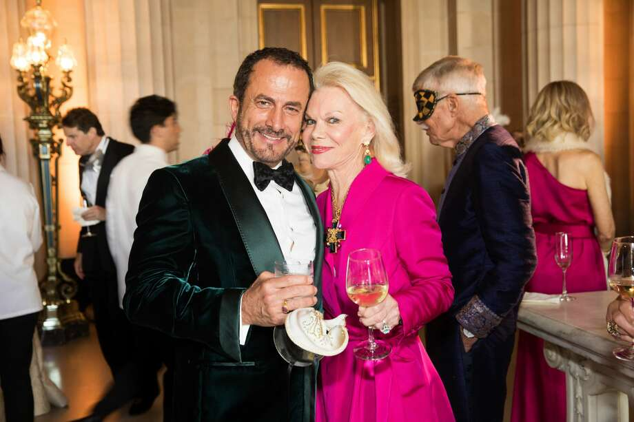 Jorge Maumer and Sandra Farris at the San Francisco Opera's opening night gala masquerade theme cocktail party on Sept. 6, 2019. Photo: Douglas Zimmerman/SFGate.com