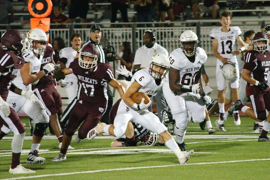 Deer Park's Alex Argueta (6) finds a hole in the Clear Creek defense Friday, Sep. 6 at CCIS Challenger Columbia Stadium. Photo: Kirk Sides/Staff Photographer
