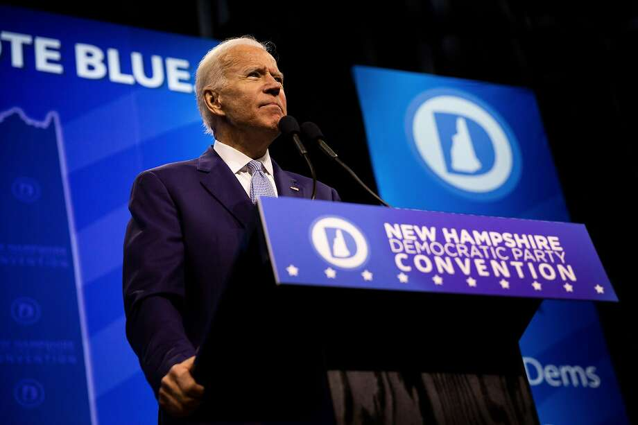 Former Vice President Joe Biden addresses the New Hampshire Democratic Party State Convention in Manchester, N.H., Saturday, Sept. 7, 2019. The gathering expected to see 19 presidential candidates, including former Vice President Joe Biden, who has led in most of the polls conducted here.  (Elizabeth Frantz/The New York Times) Photo: Elizabeth Frantz, NYT