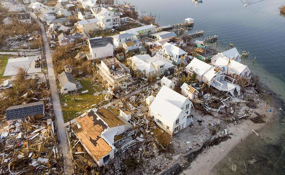 An aerial view shows homes splintered by Hurricane Dorian on Elbow Key Island in the Bahamas. Dorian smashed the region last Sunday as a ferocious Category 5 hurricane. Photo: Jose Jimenez / Getty Images
