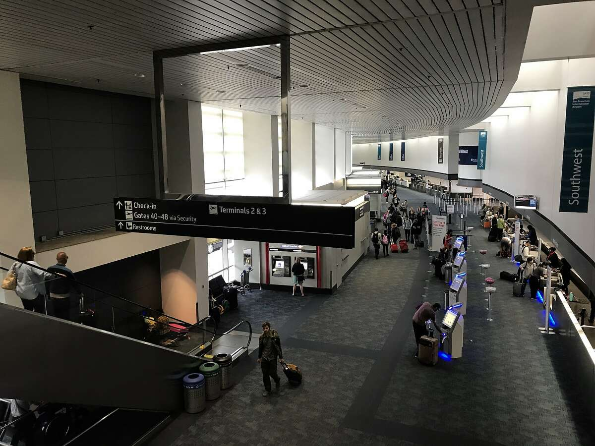 Travelers walk through the ticketing section of Terminal 1 at San Francisco International Airport onSaturday, Sept. 7, 2019. Saturday marked the start of construction on the airport's busiest runway section, which delayed 160 flights, canceled 89 flights, and caused snaking lines of restless travelers.