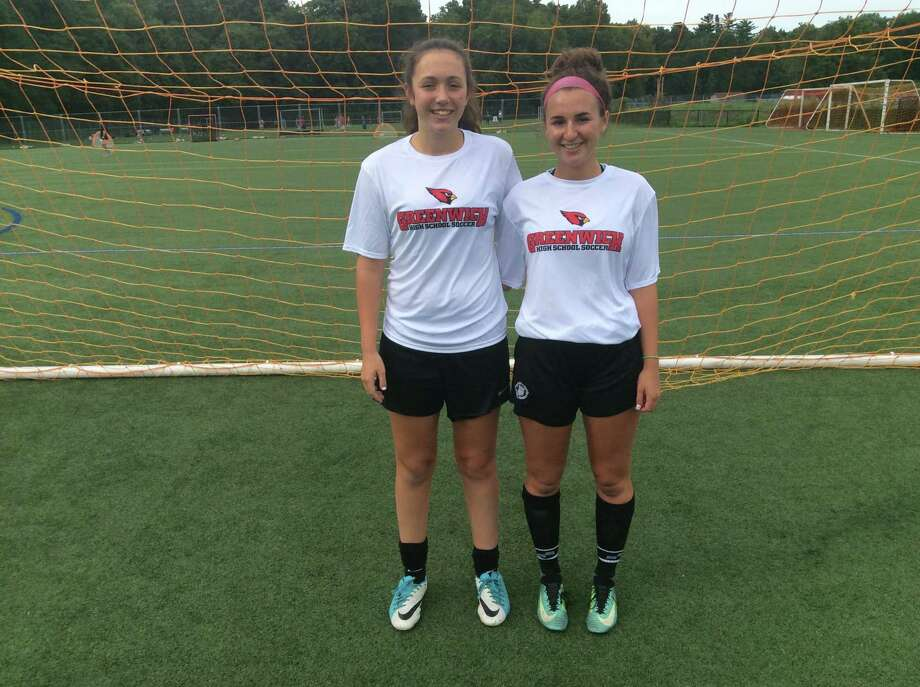 Clay Garrett, left, and Jordan Moses are senior captains of the Greenwich High School girls soccer team. Photo: David Fierro /Hearst Connecticut Media