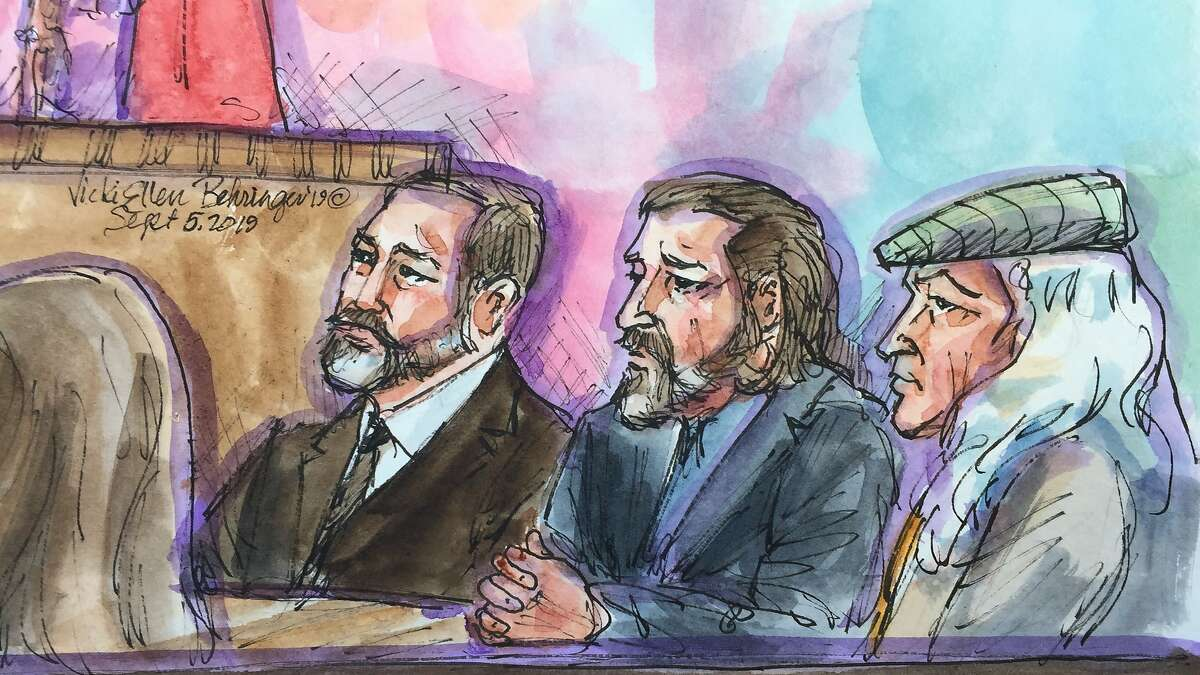 Jurors in the Ghost Ship criminal trial acquitted defendant Max Harris, while the jury hung on defendant Derick Almena at Alameda County Superior Court on September 5, 2019. (From left) Almena's attorney Brian Getz, defendant Derick Almena, and Almena's attorney Tony Serra listen to Judge Trina Thompson as she speaks to the jury about their voting on the verdict for Derick Almena.