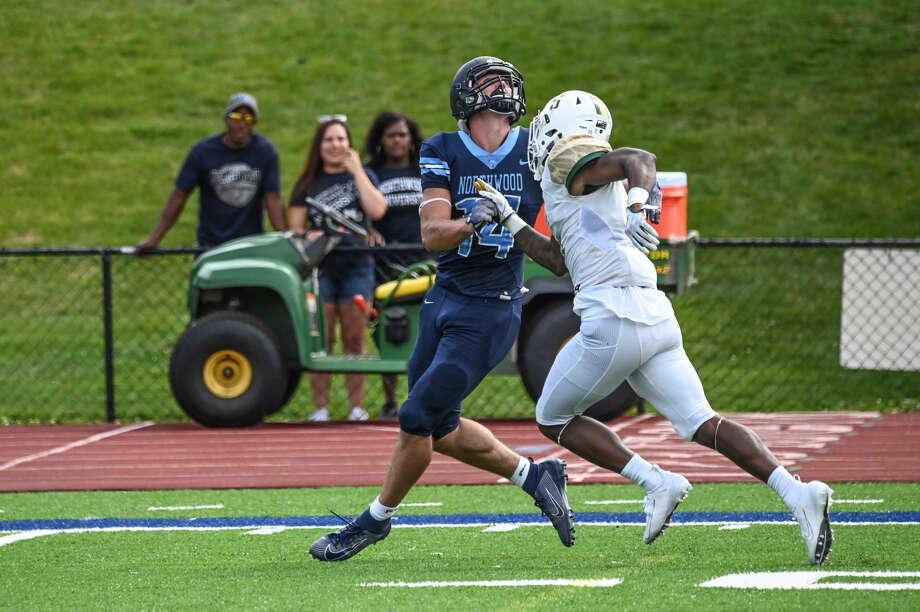 The following photo sequence shows Northwood receiver Bryant Kieft in the process of making an incredible 42-yard TD catch during Saturday's game against Tiffin. Photo: Photo Courtesy Of Adam Ferman