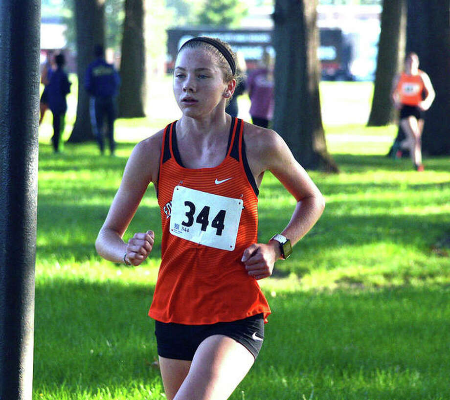 Edwardsville freshman Riley Knoyle runs in the Granite City Invitational on Saturday. Photo: Scott Marion/The Intelligencer