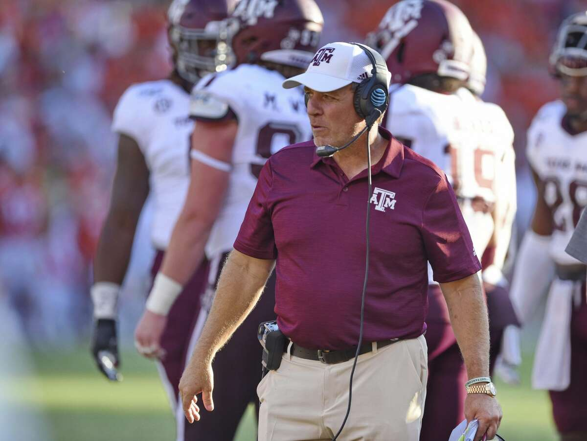 Texas A&M head coach Jimbo Fisher works on the sideline during the second half of an NCAA college football game against Clemson Saturday, Sept. 7, 2019, in Clemson, S.C. (AP Photo/Richard Shiro)