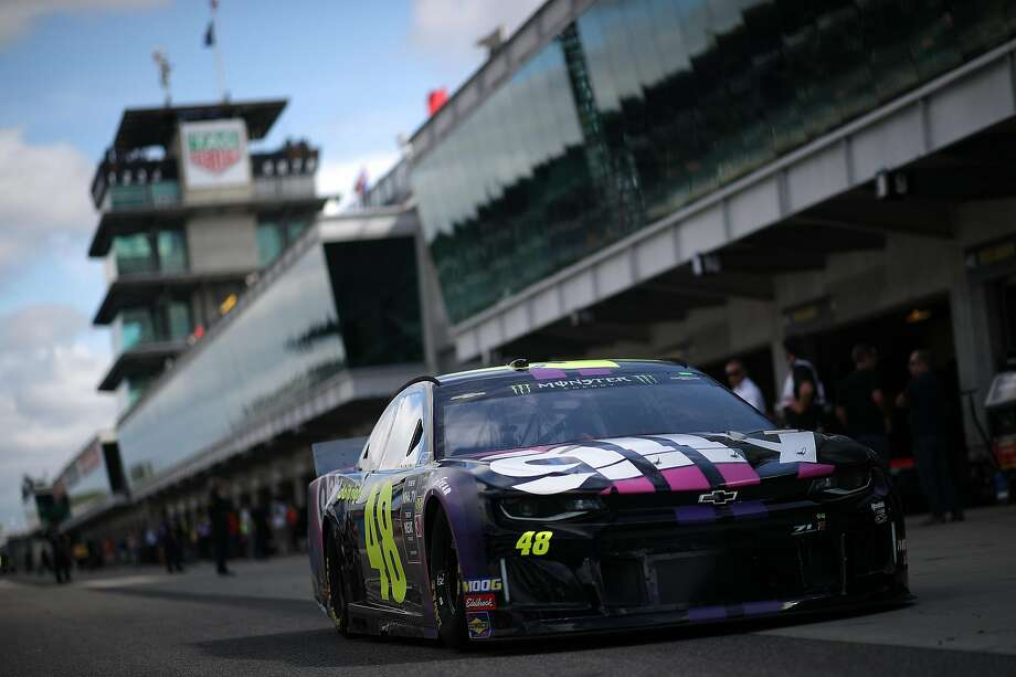In danger of missing the playoffs, Jimmie Johnson, driver of the No. 48 Ally Chevrolet, posted the ninth-best speed during practice for the Brickyard 400. Photo: Chris Graythen / Getty Images