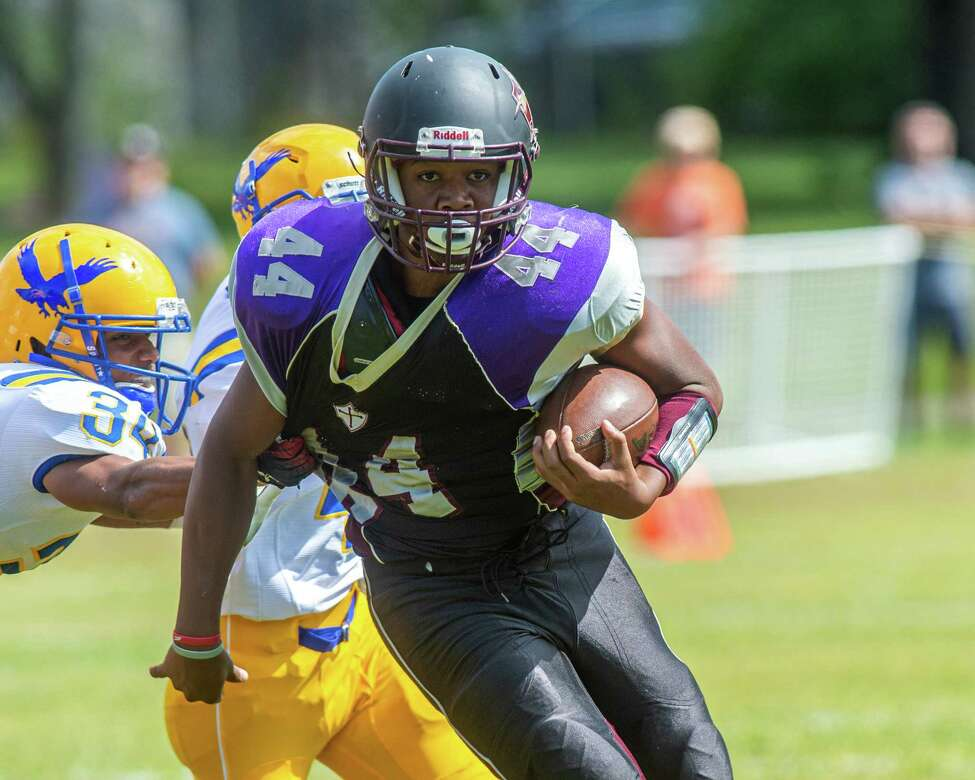 Holy Trinity running back Rodney Parker during a game against Hudson at Notre Dame Bishop Gibbons High School on Saturday, Sept. 7, 2019 (Jim Franco/Special to the Times Union.)
