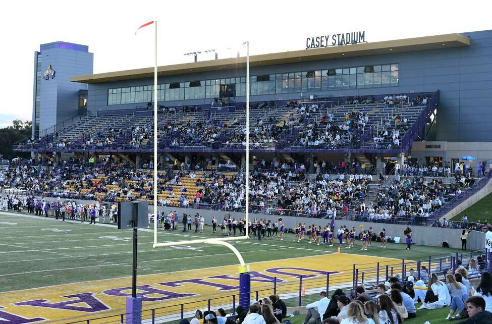 Albany Great Danes play the Bryant University Bulldogs during the first half of an NCAA college home opener football game Saturday, Sept. 7, 2019, in Albany, N.Y.